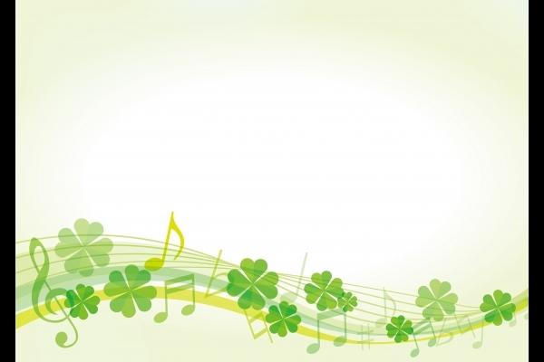 四つ葉のクローバーの音楽フレーム背景素材テクスチャの写真
