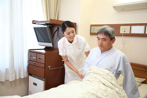 白衣 病院 医院 医療 ナース 看護師 看護婦 患者 男 男性 入院 病室 病気 シニア 介護施設 治療 療養 老人ホーム ベッド 起きる 体 起こす 若い 検診 ナースコール 話す 福祉 笑顔 日本人 mdjm013 mdjf034
