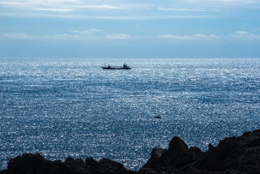 海 朝 太平洋 潮岬 船