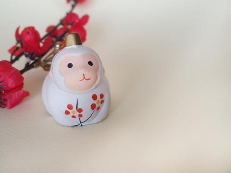 サル 猿 申 さる 梅の花 年賀状 置物 人形 陶器