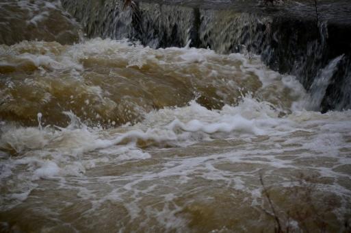 河川 川 濁流 豪雨 雨上がり 濁った 汚れた 流れ 勢い 勢力 水飛沫 荒々しい 危険 猛威 恐怖 水害 被害 災害 氾濫 洪水 自然 景色 風景 関西 大阪