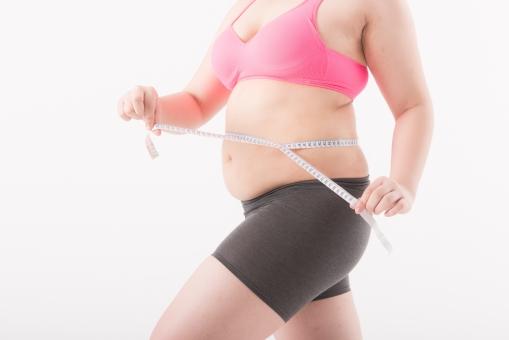 日本人 女性 ぽっちゃり 肥満 ダイエット 痩せる 痩せたい 目標 ビフォー アフター 太っている 太り気味 メタボ メタボリックシンドローム 脂肪 体系 ボディー 白バック 白背景 上半身 メジャー 計測 計る 測る サイズ お腹 ウエスト ヒップ パーツ