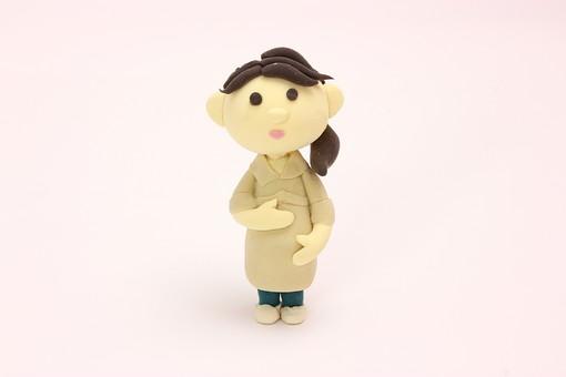 クレイ クレイアート クレイドール ねんど 粘土 クラフト 人形 アート 立体イラスト 粘土作品 妊婦 妊娠 赤ちゃん 女性