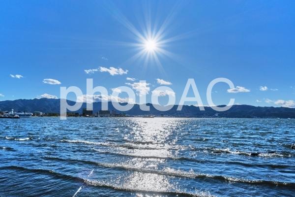 風波の強い諏訪湖と青空の写真