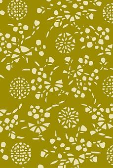 テクスチャ テクスチャー バックグラウンド 背景素材 生地 アップ 模様 正面 布 ポスター グラフィック ポストカード 柄 デザイン 紙 素材 和柄 和 絵 花 はな 植物 花火 緑 うぐいす カーキ