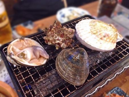 浜焼き 網焼き 焼き物 貝 貝類 魚介 魚貝 魚貝料理 魚介料理 海鮮 海鮮料理 和食 日本食 日本料理 食べ物 食材 料理 調理 グルメ ほたて ホタテ 帆立 さざえ サザエ 栄螺 はまぐり 蛤 ハマグリ 白蛤 ホンビノスガイ