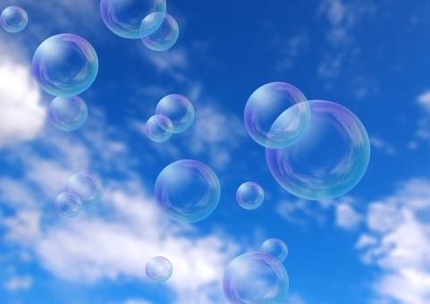 シャボン玉 しゃぼん玉 泡 風船 空 大空 ふわふわ 浮かぶ 青空 イメージ 自然 風景 光景 ふわり フワフワ エコ 環境 遊び 子ども 飛ぶ 消える 儚い はかない 壊れる 夢 澄み渡る 心地よい 気持ちいい 清々しい