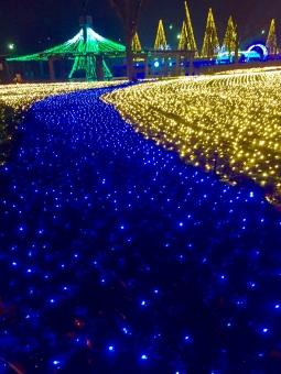 ライトアップ 電飾 クリスマス 青 ブルー Xmas ゴールド 夜景 夜 夜空 年末年始 デート 恋人 カップル きれい 綺麗