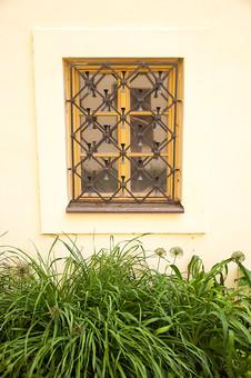 外国の窓と壁 窓 壁 外国 海外 チェコ ヨーロッパ 東欧 中欧 ガラス 透ける 綺麗 模様 飾り 外国風景 風景 素材 白壁 飾り窓 格子 鉄 窓枠 樹木 四角 自然 ナチュラル 植物