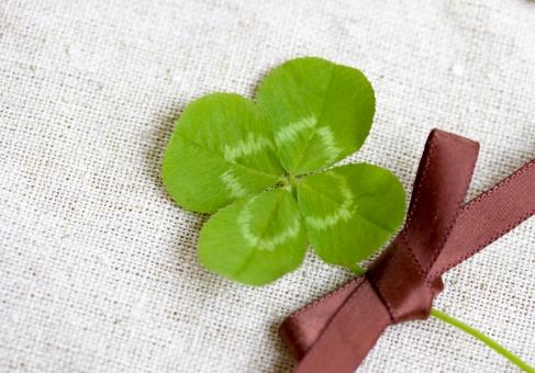 クローバー 植物 草 四葉のクローバー 四葉 ラッキーアイテム 幸運 ラッキー 幸せ 緑 リネン 麻 リボン 四ツ葉 四つ葉 お守り