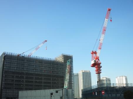 横 横浜 よこはま クレーン タワー ビル 高層 マンション 建築 建設 工事 現場 神奈川 作業 フック マスト 赤 白 青 都会 都市 16
