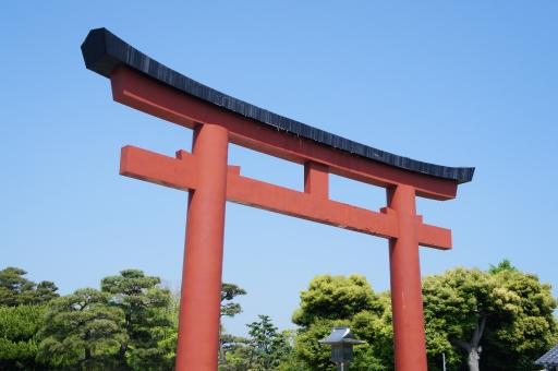 鶴岡八幡宮 鳥居 空 緑 神社 鎌倉