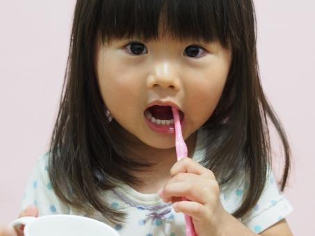女児 歯みがき ブラシ コップ 歯ブラシ 子供 日本人 girl child kids japanese 少女 歯磨き 女の子 園児 虫歯