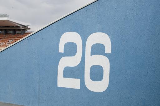 国立競技場 国立霞ヶ丘陸上競技場 数字 ナンバー ゲート 26 出入り口 観客席 スタンド スポーツ 運動 サッカー ワールドカップ ラグビー 陸上競技 コンサート スタジアム 競技場 会場 水色 デザイン 建物 建造物 建築物 施設 東京オリンピック オリンピック東京大会