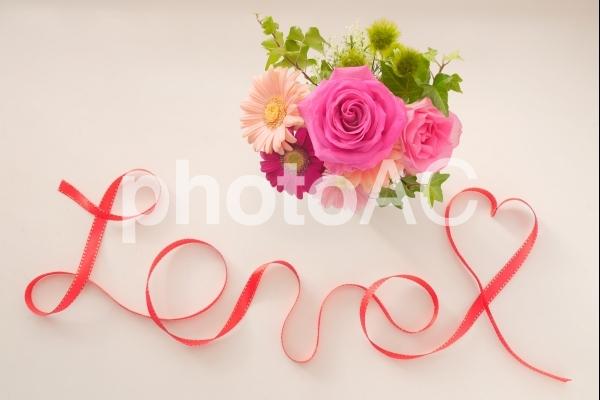薔薇とリボンの写真
