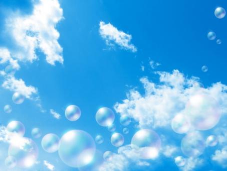 青空 シャボン玉 雲 空 しゃぼん玉 バブル CG 爽やか 清々しい クリーン イメージ 穏やか 背景 バック バックグラウンド テクスチャ 青 水色 虹色 環境 エコ エコロジー 自然 風景 優しい 浮遊 透明感 ファンタジー 幻想的 ロマンチック