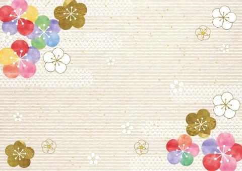 梅_水彩_和紙背景の写真