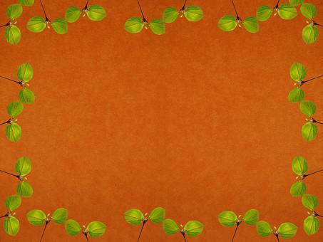 葉 木の葉 素材 葉脈 植物 自然 パターン 暖色 ナチュラル 暖かい 空間 余白 テクスチャ 質感 背景 背景素材 バックグラウンド テキストスペース コピースペース 二葉 双葉 新芽 発芽 芽 生える 緑 茶色 枠 フレーム 額 加工 写真加工 飾り枠