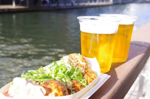 たこ焼き タコ焼き 道頓堀 大阪 ビール 川 美味しい 美味しそう デート 夏 春