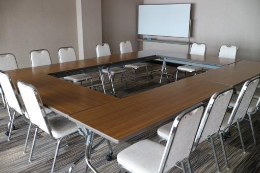 会議 ミーティング 会議室 仕事 ビジネス セミナー ホワイトボード ロの字 無人