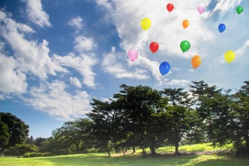 日差し 夏 空 晴れ 緑 グリーン 天気 新緑 木陰 素材 背景 カラー パーツ 木々 雲 カラフル 芝 画像 材料 初夏 壁紙 イメージ テクスチャ 切り抜き トリミング 風船 バルーン 切り出し バックグランド 切り取り レイヤー アイキャッチ 背景透過 飛んで psd