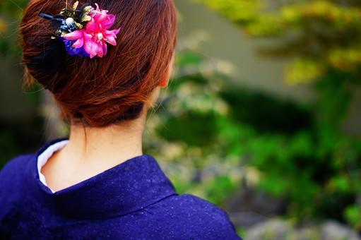 人 人物 人間 女性 着物 和服 和 和装 衣服 衣類 日本 民族服 西洋服 日本服 時代 着る物 羽織 布 青色 日本女性 髪 茶髪 緑 植物 葉 後姿 髪飾り ピンボケ 接写 アップ