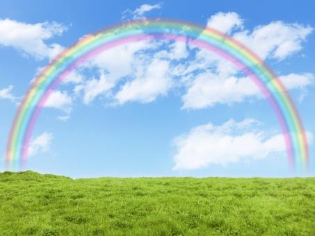 草原と青空と虹の写真