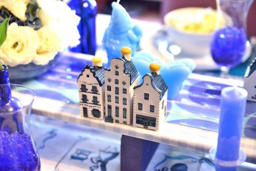 花 器 青 ブルー 陶磁器 家 模型 陶器 テーブル アクセサリー ローソク ろーそく 燭台 薔薇 花 白 テーブルマナー フラワーアレンジメント