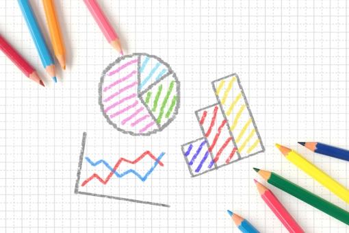 色鉛筆とグラフの写真