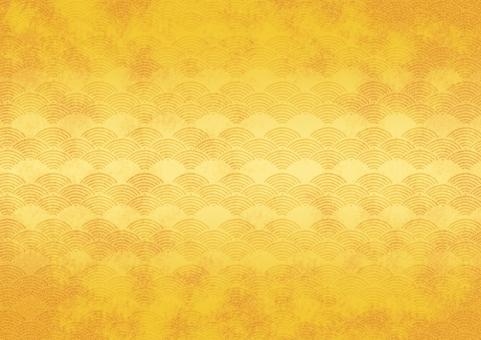 テクスチャ テクスチャー 背景 バックグラウンド 背景素材 金 ゴールド 金びょうぶ 金屏風 素材 模様 伝統 伝統工芸 和風 壁紙 工芸 和紙 波 青海波 海 日本