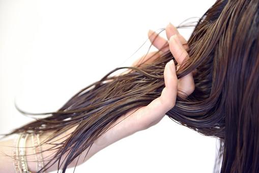 人物 女性 日本人 若い 若者   20代 お客 モデル カットモデル 美容室   美容院 ヘアーサロン  仕事 職業 美容師   屋内 白バック 白背景  カット ヘアカット セミロング   美容 ビューティー おしゃれ オシャレ 湿らす 手元 アップ トリートメント 湿らす 髪の毛