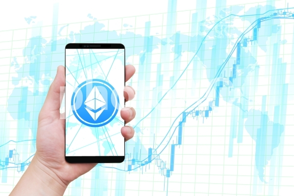 イーサリアムと株価と高騰チャートの写真