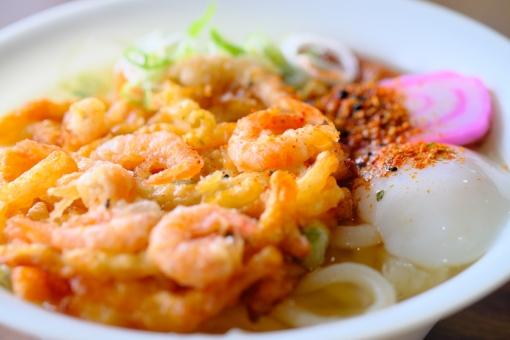 食べ物 麺類 うどん 天ぷら かき揚げ 和食 軽食 卵 たまご 月見 七味 薬味 横位置 余白 ネギ