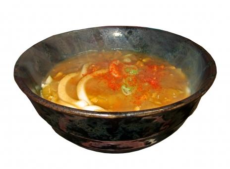 カレーうどん うどん 饂飩 ウドン 食べ物 食品 料理 調理 温かい食べ物 グルメ 丼もの カレー 湯気 風景 景色 白抜き 麺類 麺