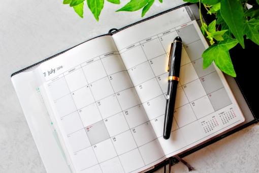 手帳 ペン ボールペン 万年筆 スケジュール帳 スケジュール 管理 アイビー 緑 葉 植物 自然 デスク オフィス 自宅 テーブル 予定 予定表 カレンダー 仕事 7月