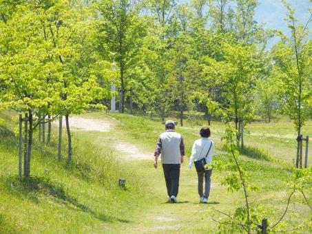 ウォーキング シニア 夫婦 家族 健康 歩く 運動 公園 新緑 平和 散歩 自然 風景 植物 美容 屋外 5月 初夏 休日 余暇 人物 老夫婦