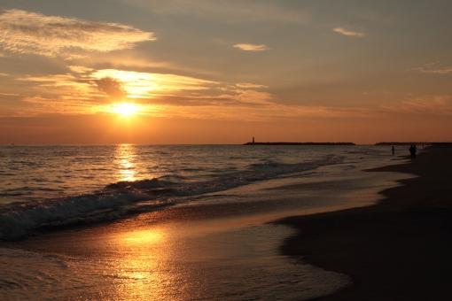 夕日 夕陽 海 夕焼け 波