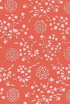 テクスチャ テクスチャー バックグラウンド 背景素材 生地 アップ 模様 正面 布 ポスター グラフィック ポストカード 柄 デザイン 紙 素材 和柄 和 絵 はな  花 植物 花火 ピンク 赤 あか