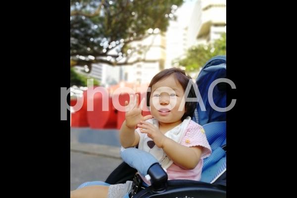ベビーカーにのる女の子の写真