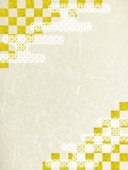 年賀状素材-金箔雲和紙縦の写真