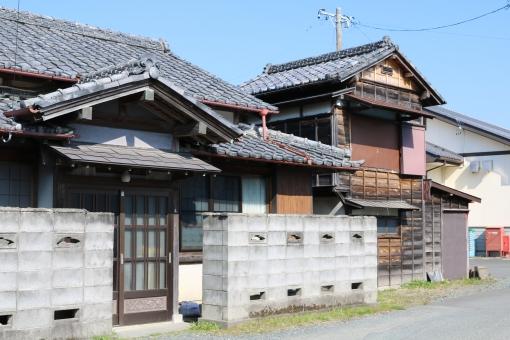 家 家屋 昭和 民家 ブロック塀 木造