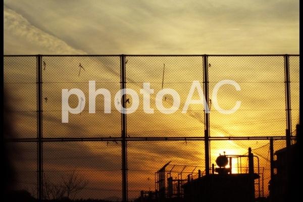 夕日と飛行機雲の写真