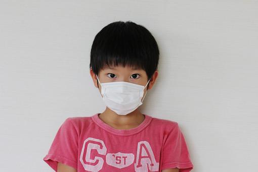 子供 人物 男の子 小学生 マスク 風邪 予防 病気 日本人 男子 こども キッズモデル 正面 室内 屋内 白バック 白背景 上半身 花粉症 インフルエンザ ウイルス アレルギー アレルゲン 見つめる カメラ目線 mdmk026