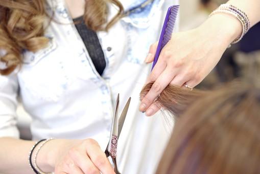 人物 女性 日本人 若い 若者  20代 お客 モデル カットモデル 美容室  美容院 ヘアーサロン 屋内 室内 店内  ヘアカット ヘアセット 常連 セミロング 美容 ビューティー おしゃれ  オシャレ 美容師 接客 担当者 ケープ 鋏 はさみ ハサミ カット 切る 髪の毛 アップ 手元 仕事 職業