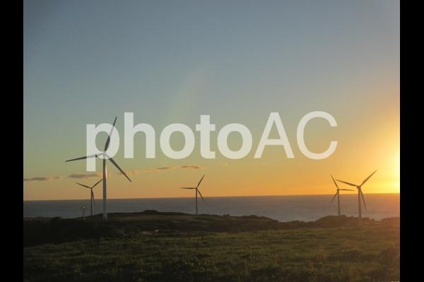夕暮れの風車の丘2の写真