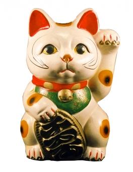 招き猫 猫 商売繁盛 縁起物 焼き物 人形 キャラクター ねこ ネコ 日本猫 おもちゃ オモチャ 玩具 伝統 民芸品 白抜き 風景 景色 小物
