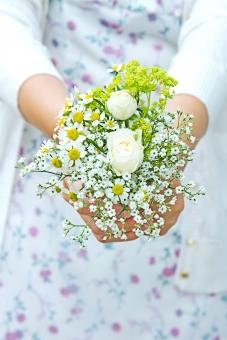 女性 女の子 少女 乙女 手 上半身 グリーン 緑 植物 人物 初夏 爽やか 優しい やさしさ 優しさ 思いやり イメージ 花 バラ ばら 薔薇 華やか 豪華 ゴージャス エレガント 可愛い かわいい 可憐 ローズ 白 白薔薇 白バラ エコ eco カモミール ハーブ 観葉植物 ブーケ 花束
