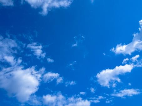 青空と雲のシンプルな背景素材 青色の背景素材の写真