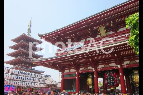 浅草寺 宝蔵門 五重塔の写真