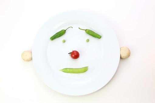 野菜 えんどう エンドウ 豌豆 スナップえんどう スナップエンドウ 食材 新鮮 室内  素材 きれい 鮮やか 可愛い 無人 飲食 美味しい 新鮮な 鮮やかな   背景 白バック  食べ物 食べる 健康 フレッシュ 自然 ダイエット ベジタブル ベジタリアン ビーガン マクロビオティック 菜食 まめ 豆 皿 プレート 野菜で造った顔 顔 緑 料理 買い物 スーパー グリーンピース ミニトマト ししとう 獅子唐 マッシュルーム きのこ